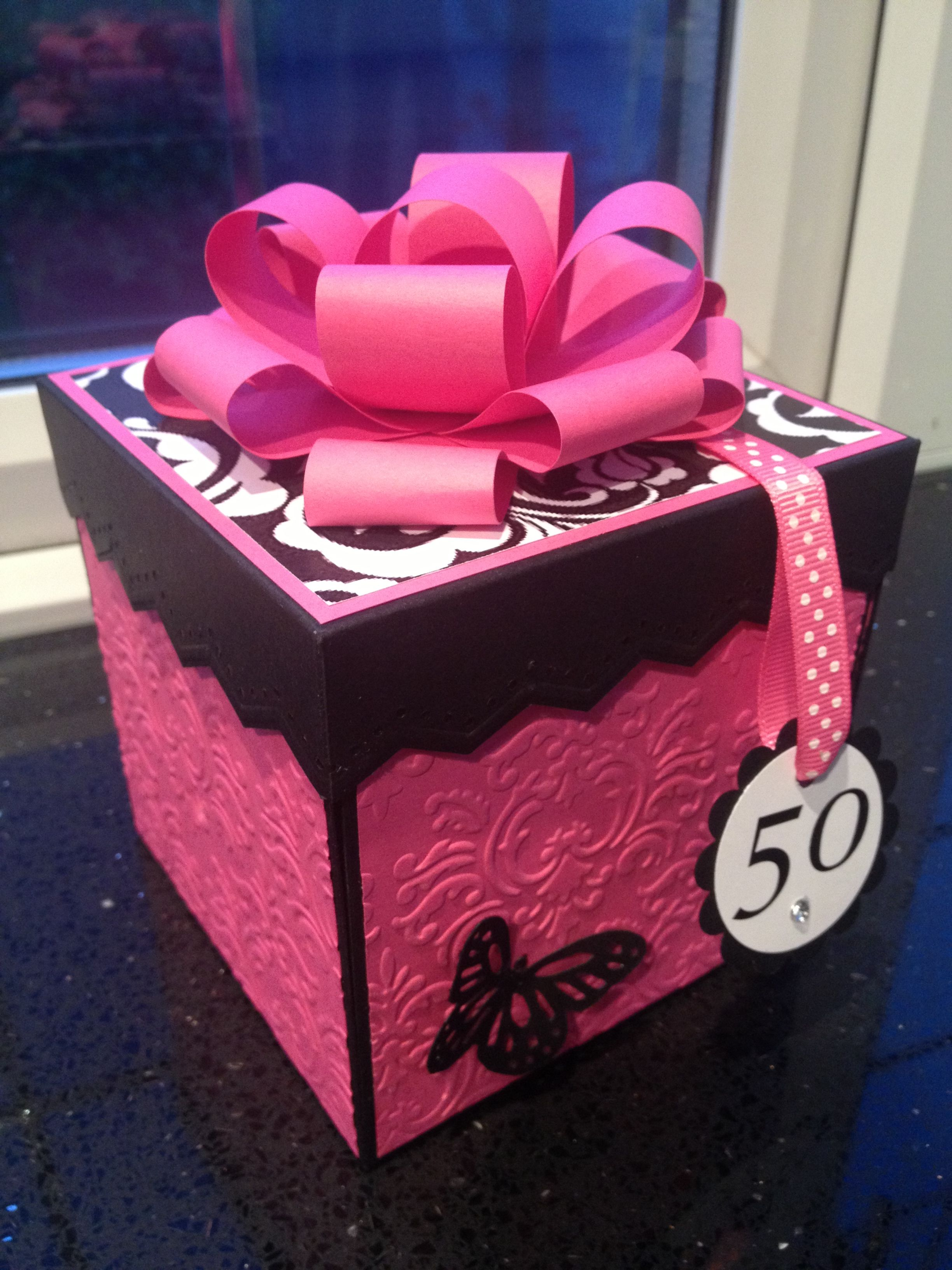 Pink and black exploding box card