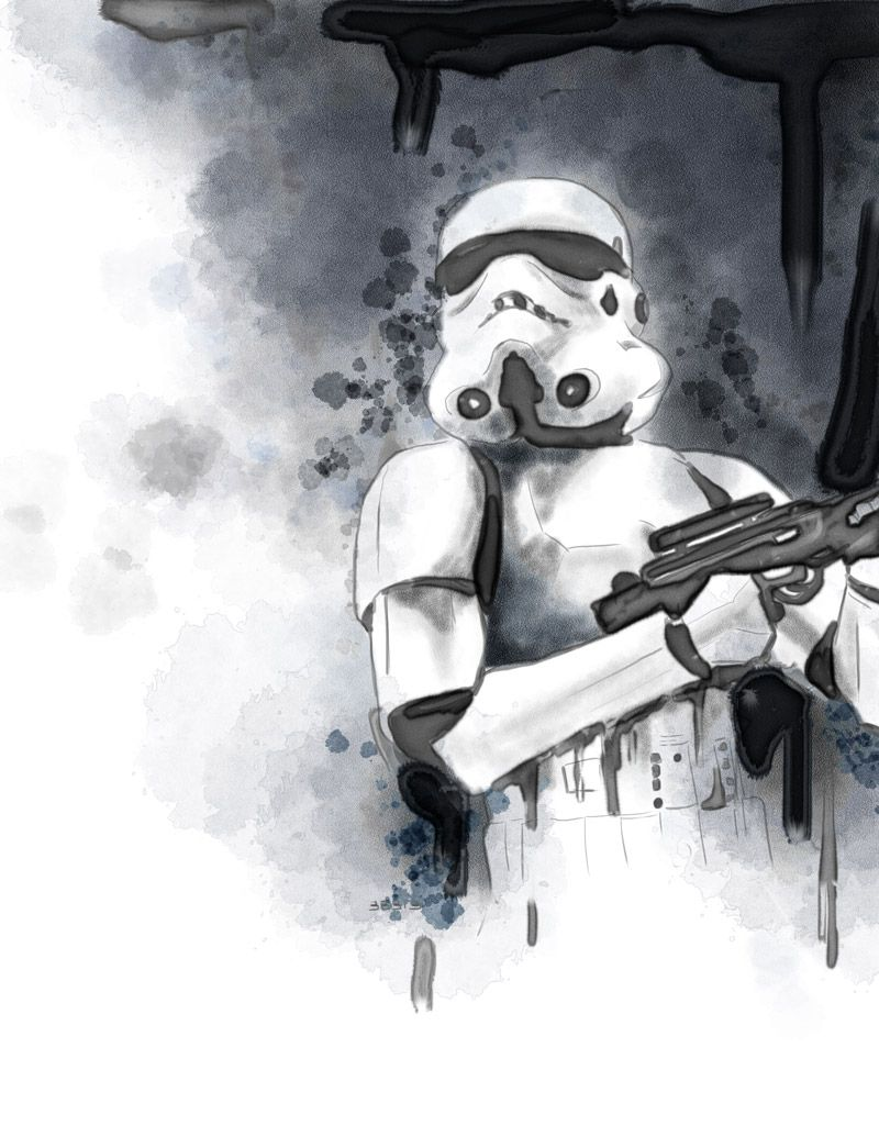 Imperial Stormtrooper, watercolor using Corel Painter