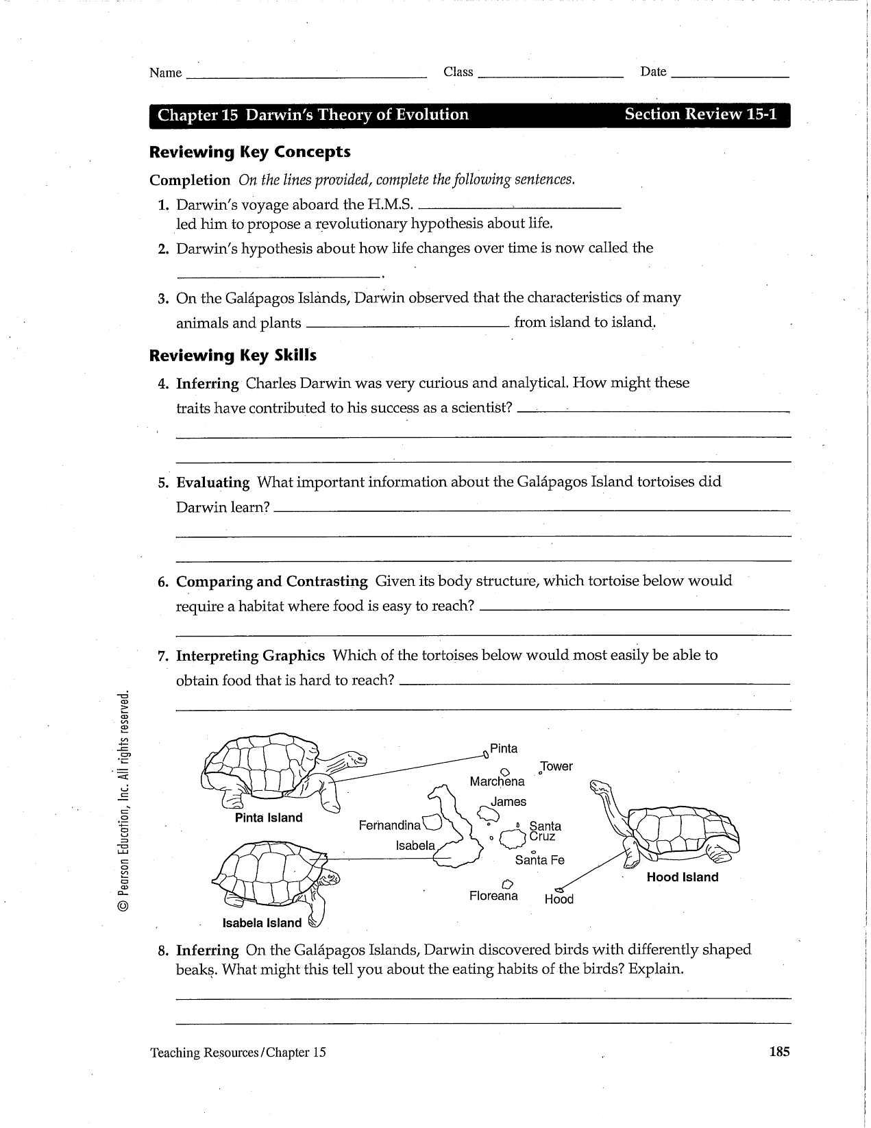 Darwin S Theory Of Evolution Worksheet