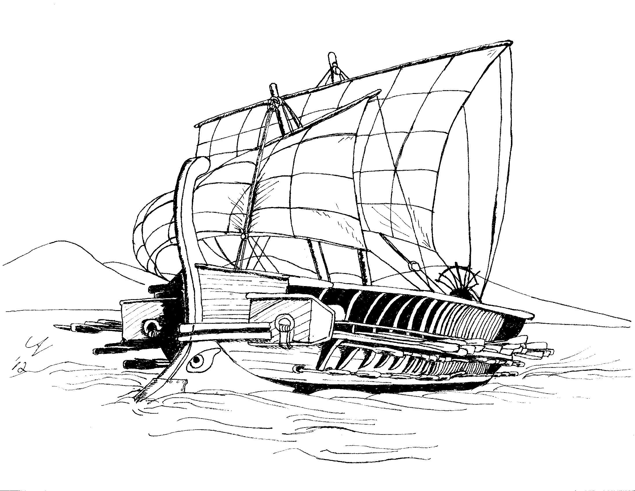 Ancient Greek Ship Coloring Pages