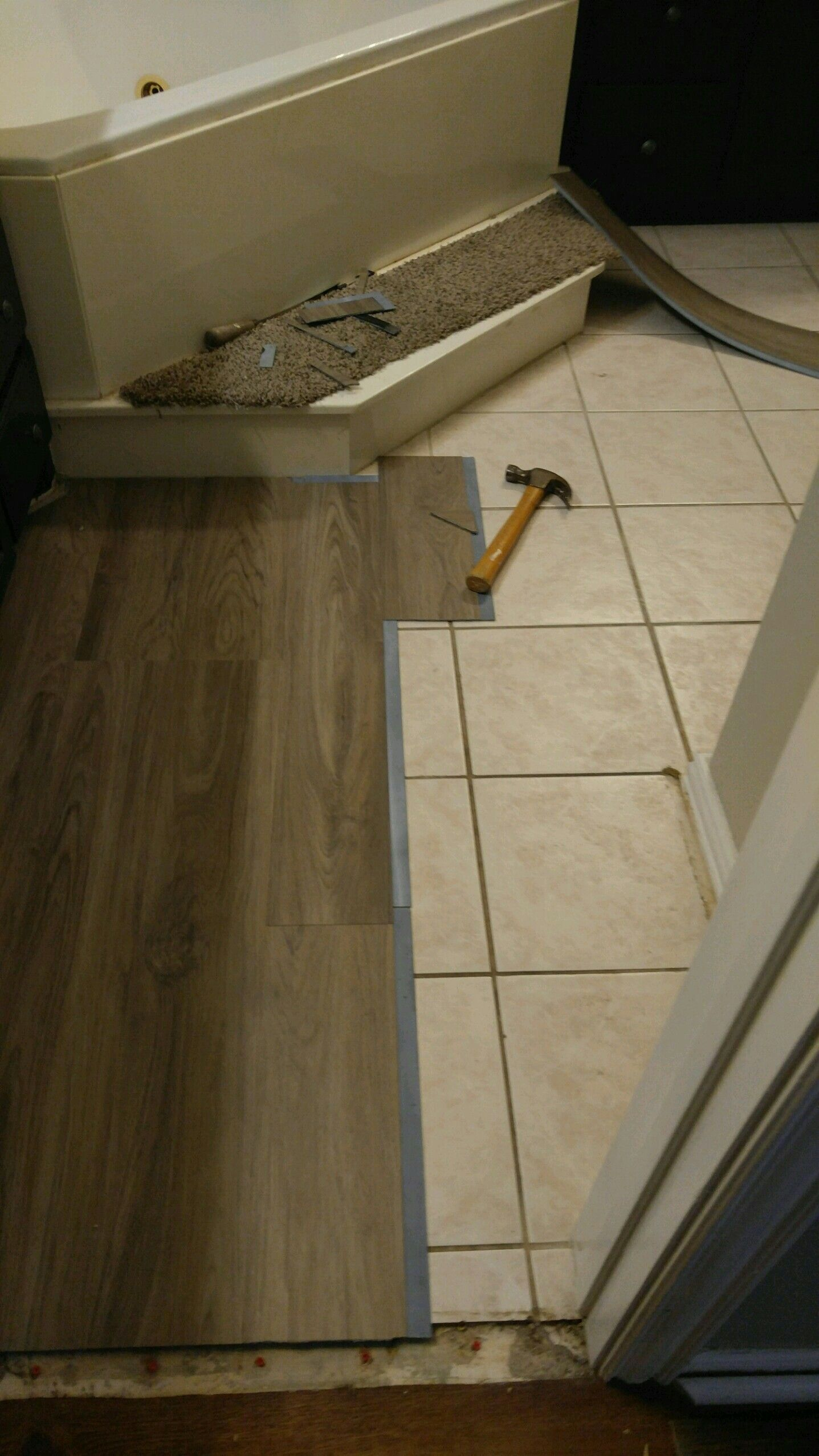 I did this myself, Vinyl plank flooring over tile For