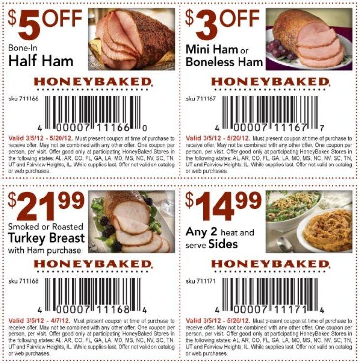 Honey Baked Ham Coupon direct coupon deals Pinterest