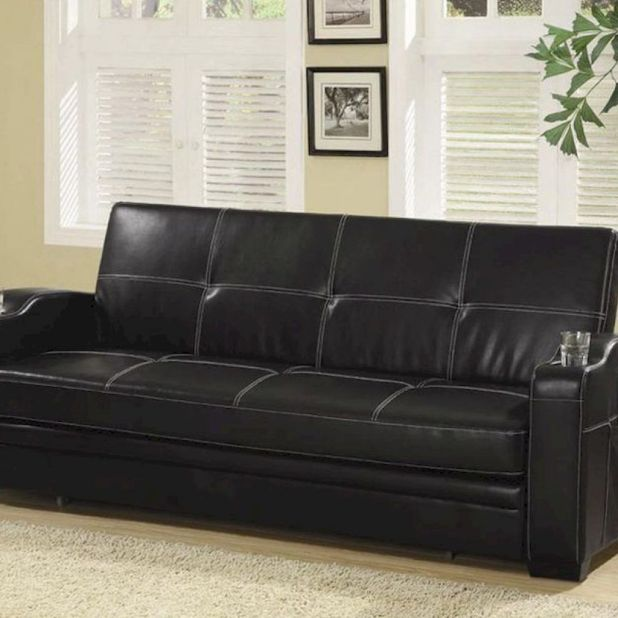 Black Faux Leather Sofa Bed W White Stitching By Coaster