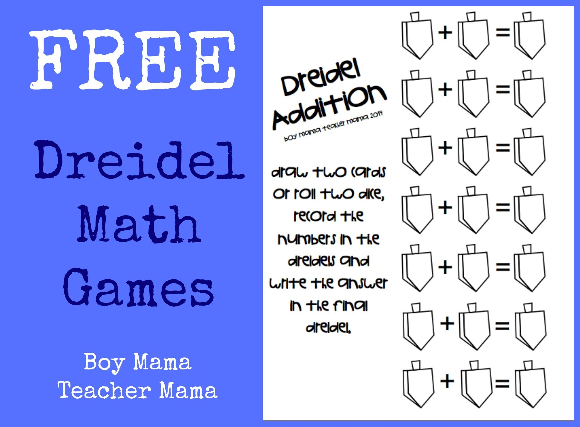 Boy Mama Teacher Mama Free Printable Dreidel Math Game