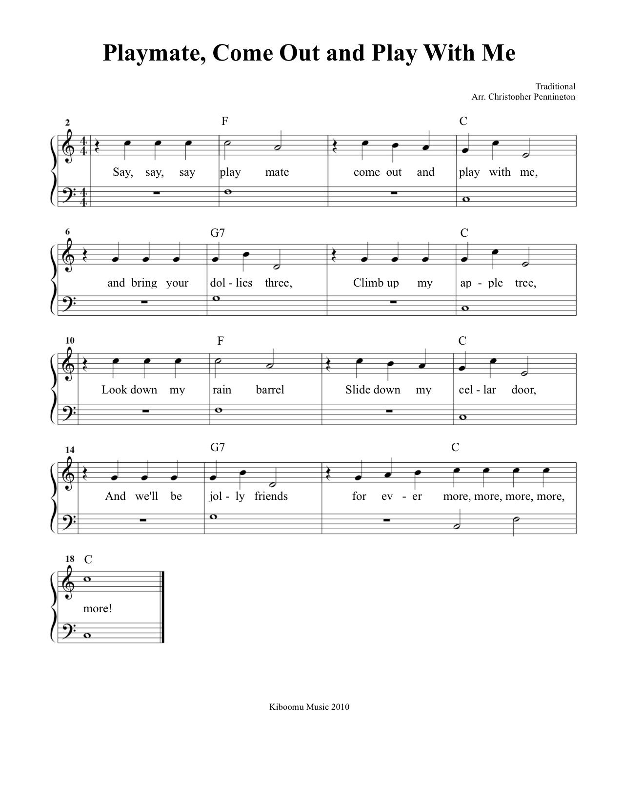 Playmate Come Out And Play With Me Sheet Music Download