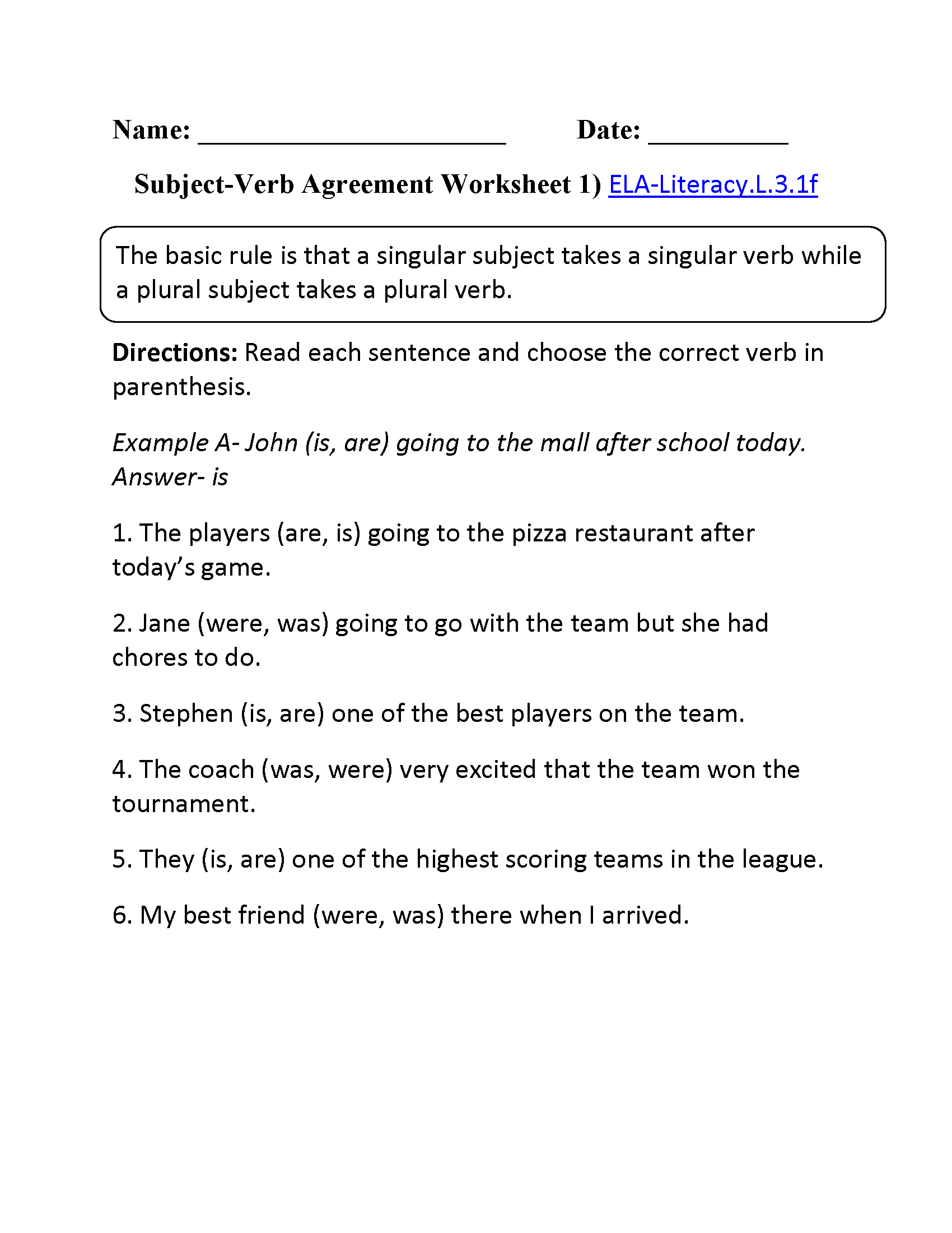 Subject Verb Agreement Worksheet 1 Ela Literacy L 3 1f Language Worksheet