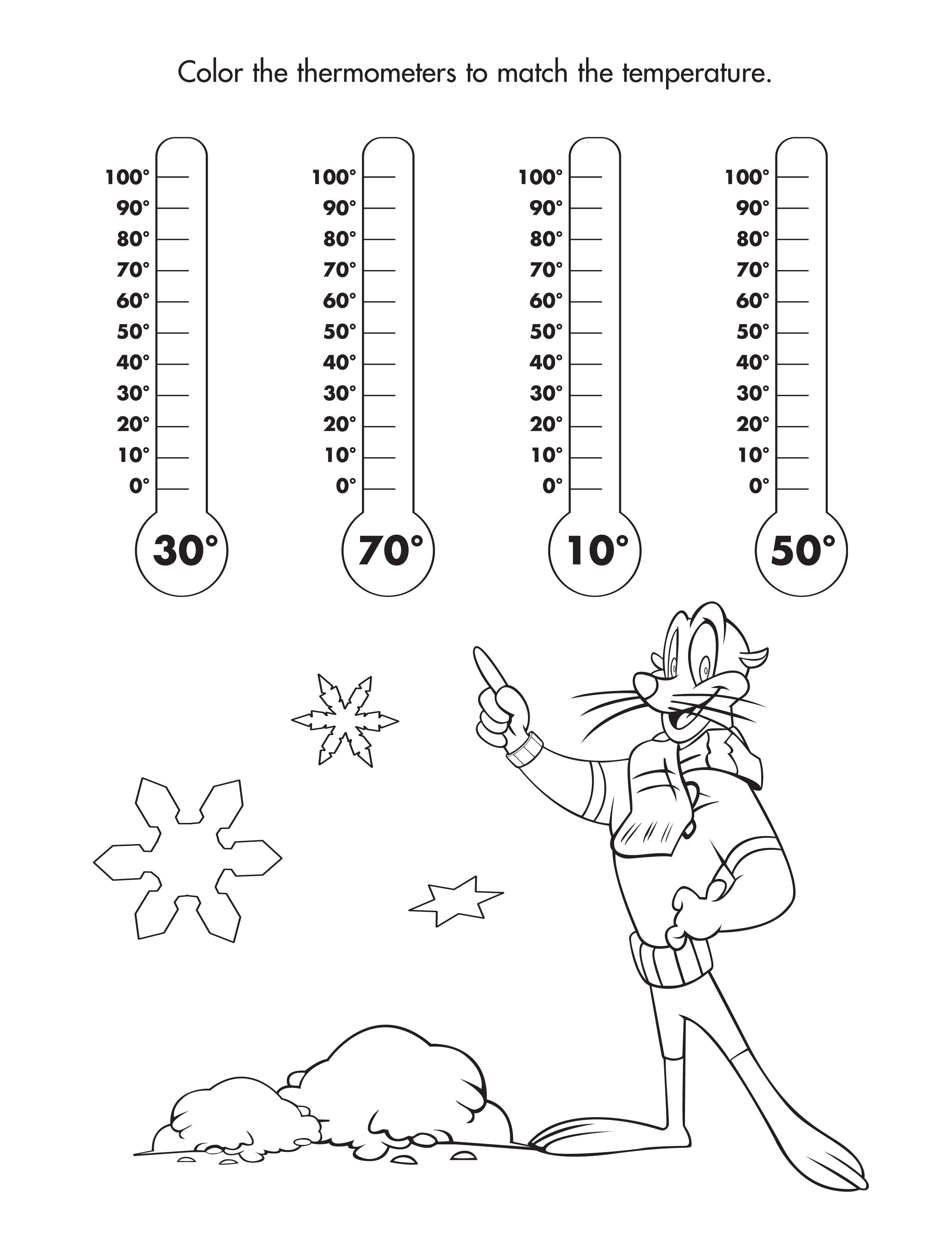 Color the thermometers with the correct temperature!
