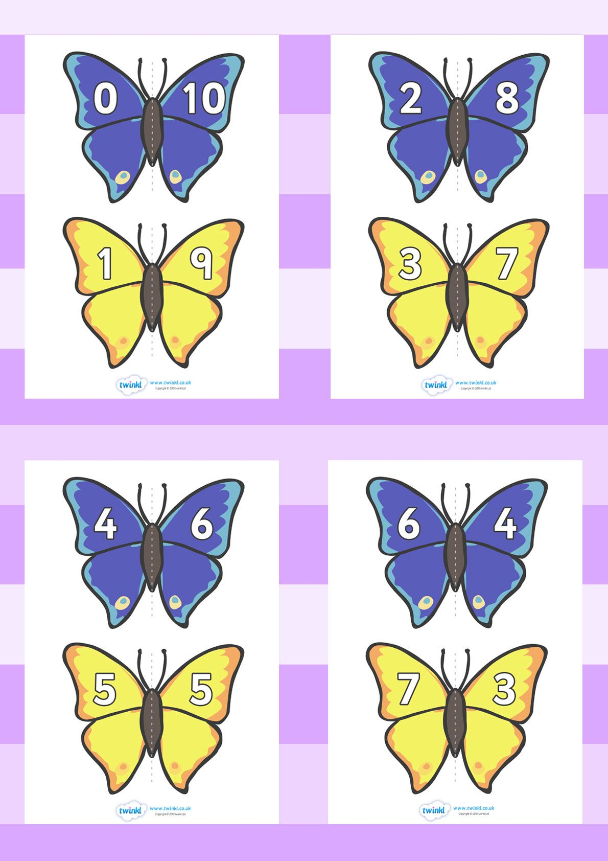 Twinkl Resources Gt Gt Number Bonds To 10 Matching Cards Butterfly Gt Gt Classroom Printables For