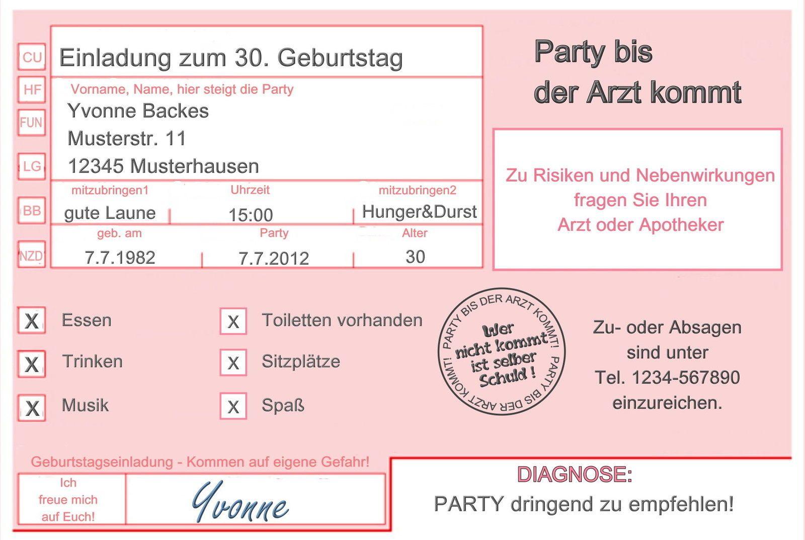 Einladungskarten Arzt 18 30 40 50 Geburtstag Einladungen