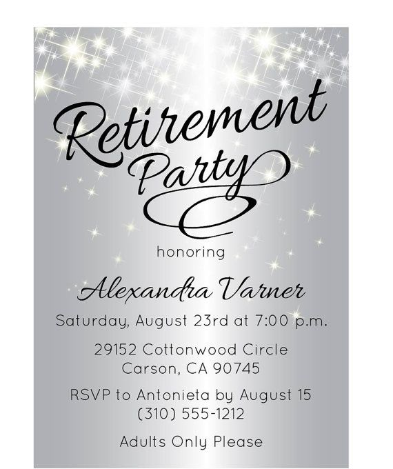 Silver Retirement Party Invitation Retirement Party