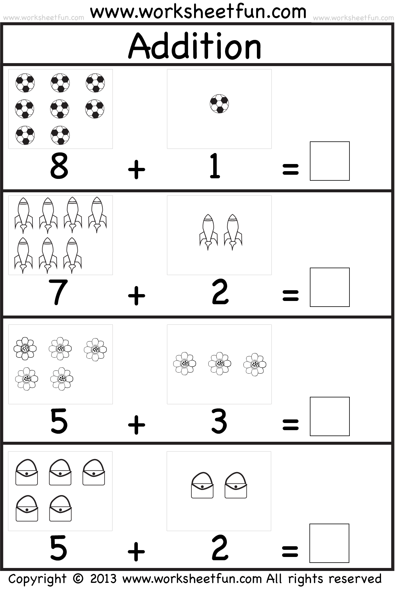 Add Simple Worksheet Kindergarten Math