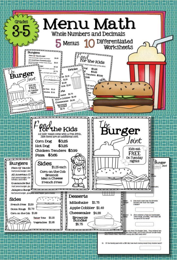 Math Restaurant Menus Bundle (4th 5th) Math, Menu and