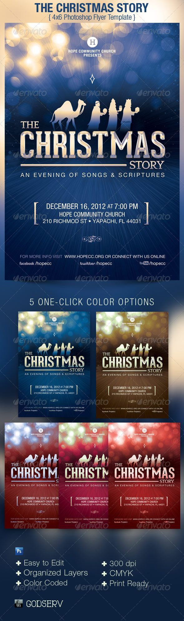 Christmas Story Church Flyer Poster Template Flyer