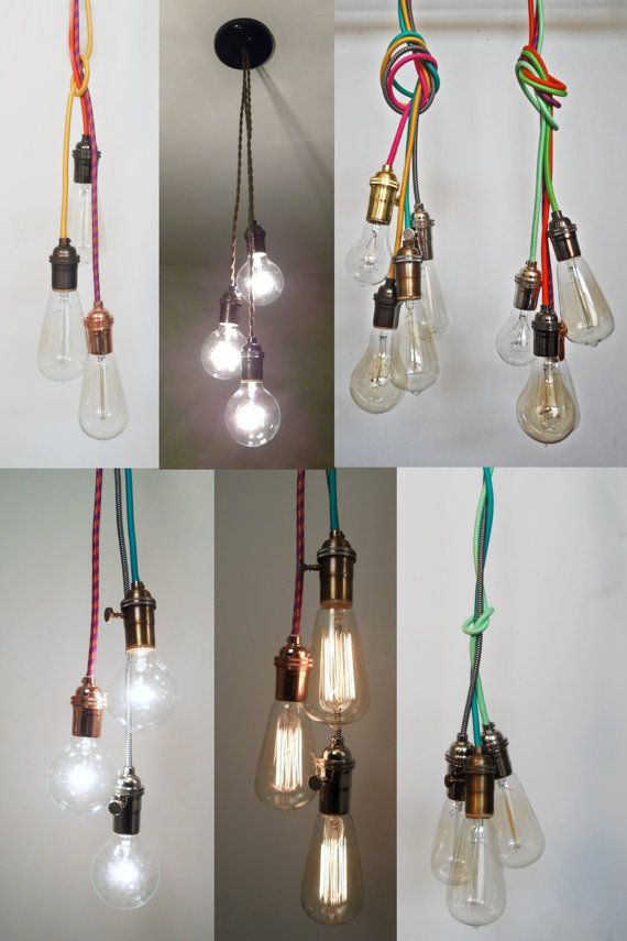 3 Pendant Light Ceiling Hanging Edison Bulb Modern Chandelier Hardwired Fixture Blub Cer Antique Twisted Cord By Hangoutlighting On