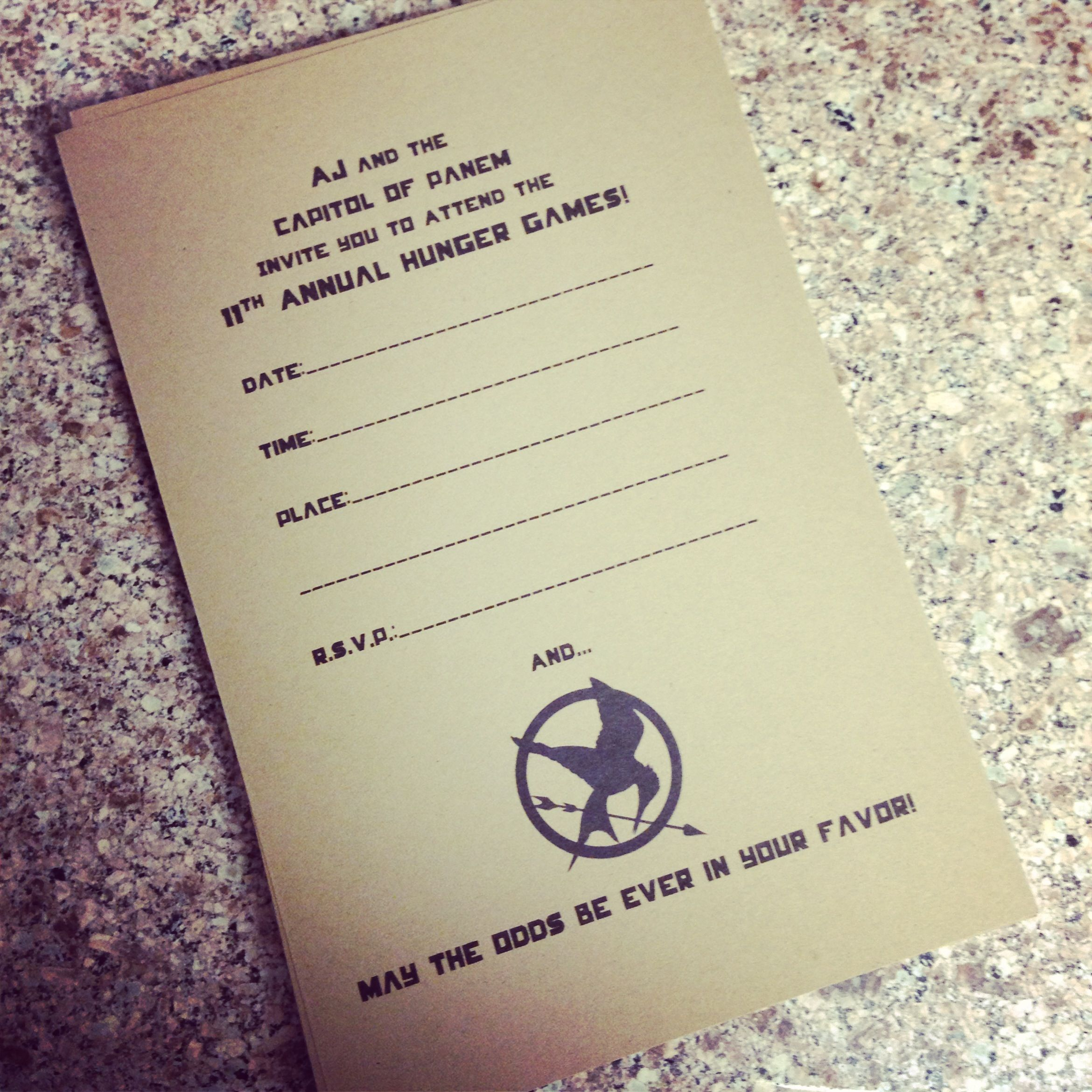 I Made Aj These Hunger Games Party Invites For His 11th He Loves Them