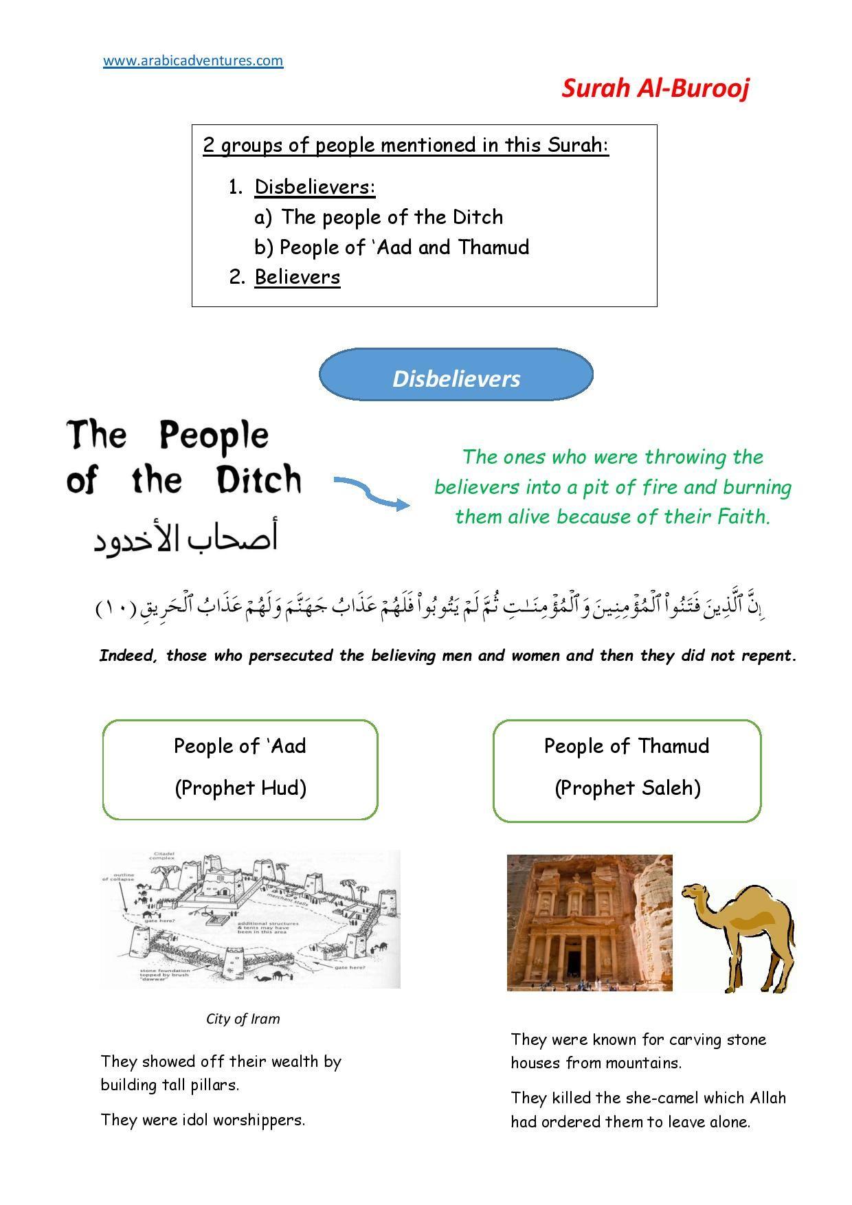 Surah Al Burooj Tafsir For Kids Handout Sheet 1 Free At Abicadventures