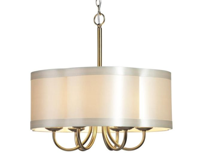 Chandeliers With Shades Lighting Six Light Antique Brass Scalloped Silk Shade
