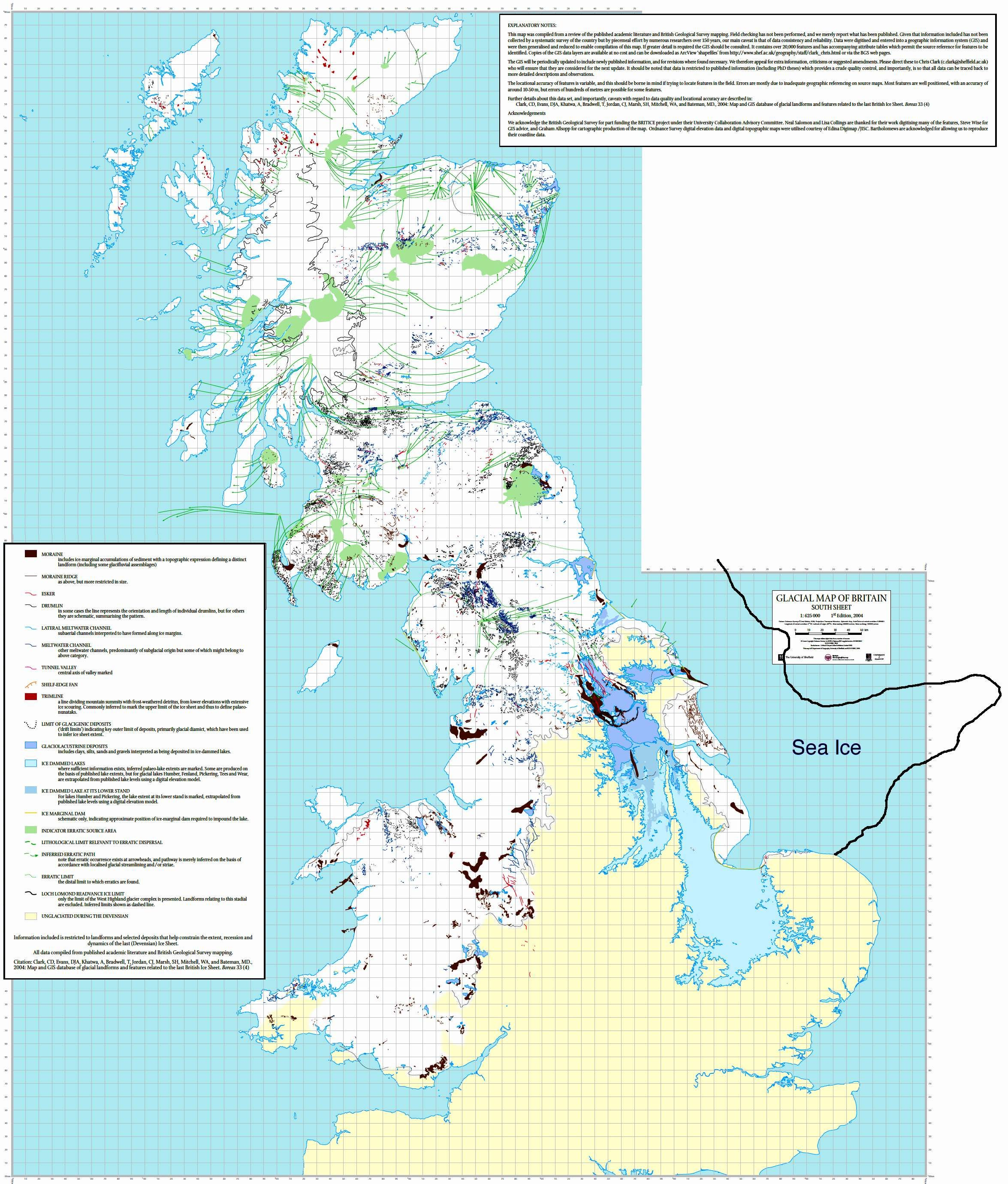 Map Of Ice Sheet Over The British Isles