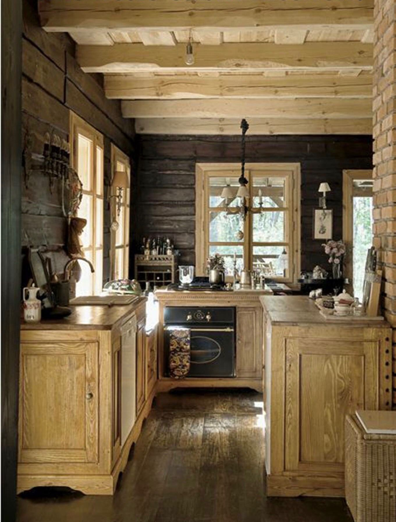 Rustic Retreat, small Rustic cabin kitchen Log Homes