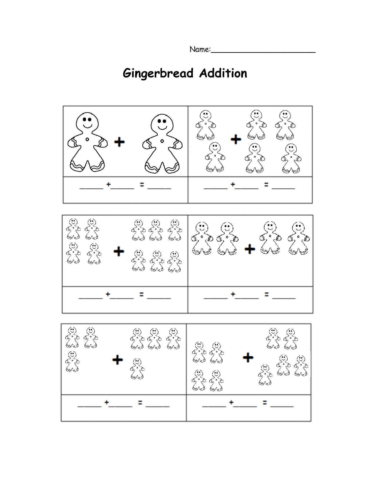 Gingerbread Math Worksheets
