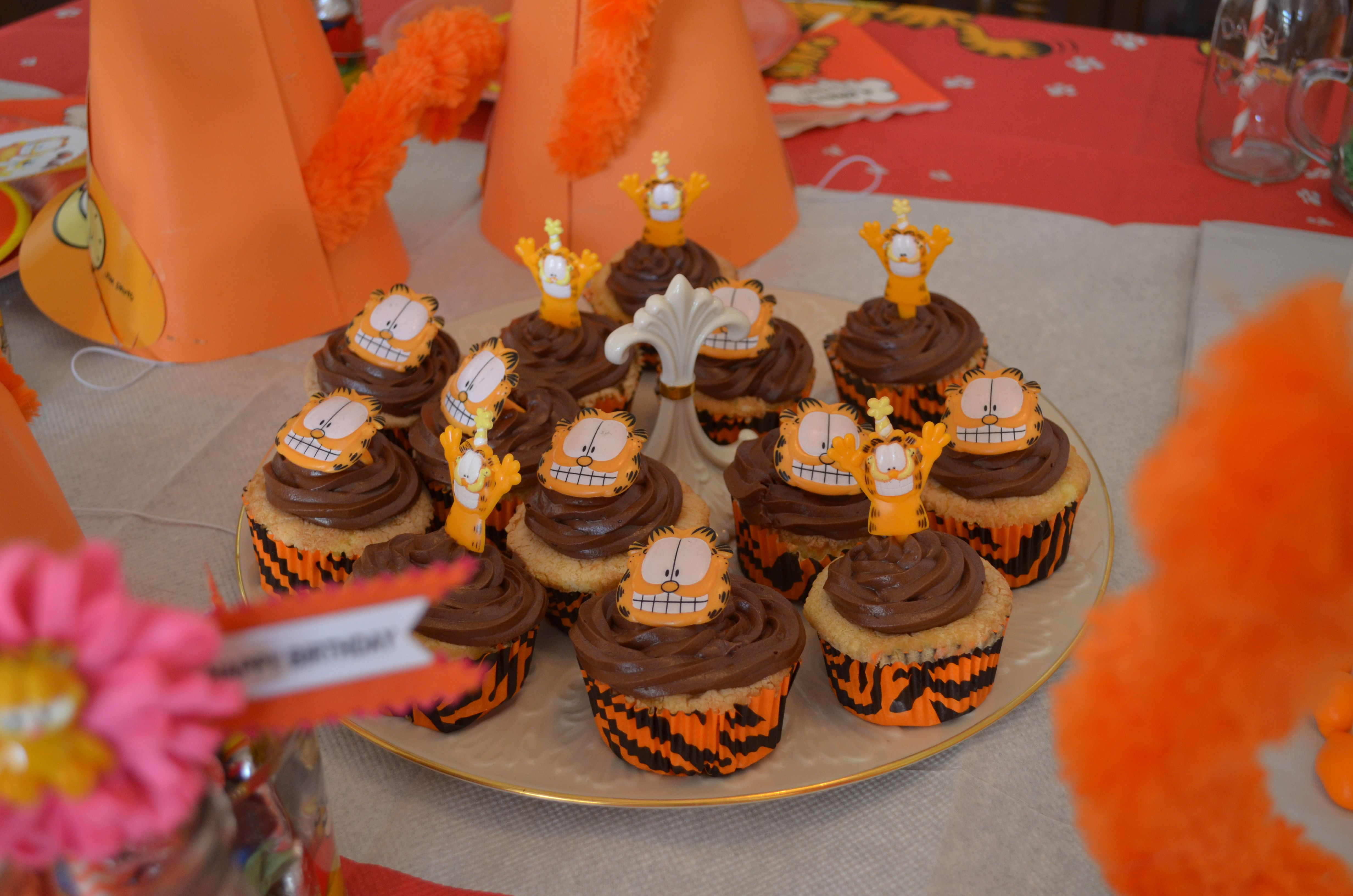 Homemade Garfield cupcakes decorated with chocolate