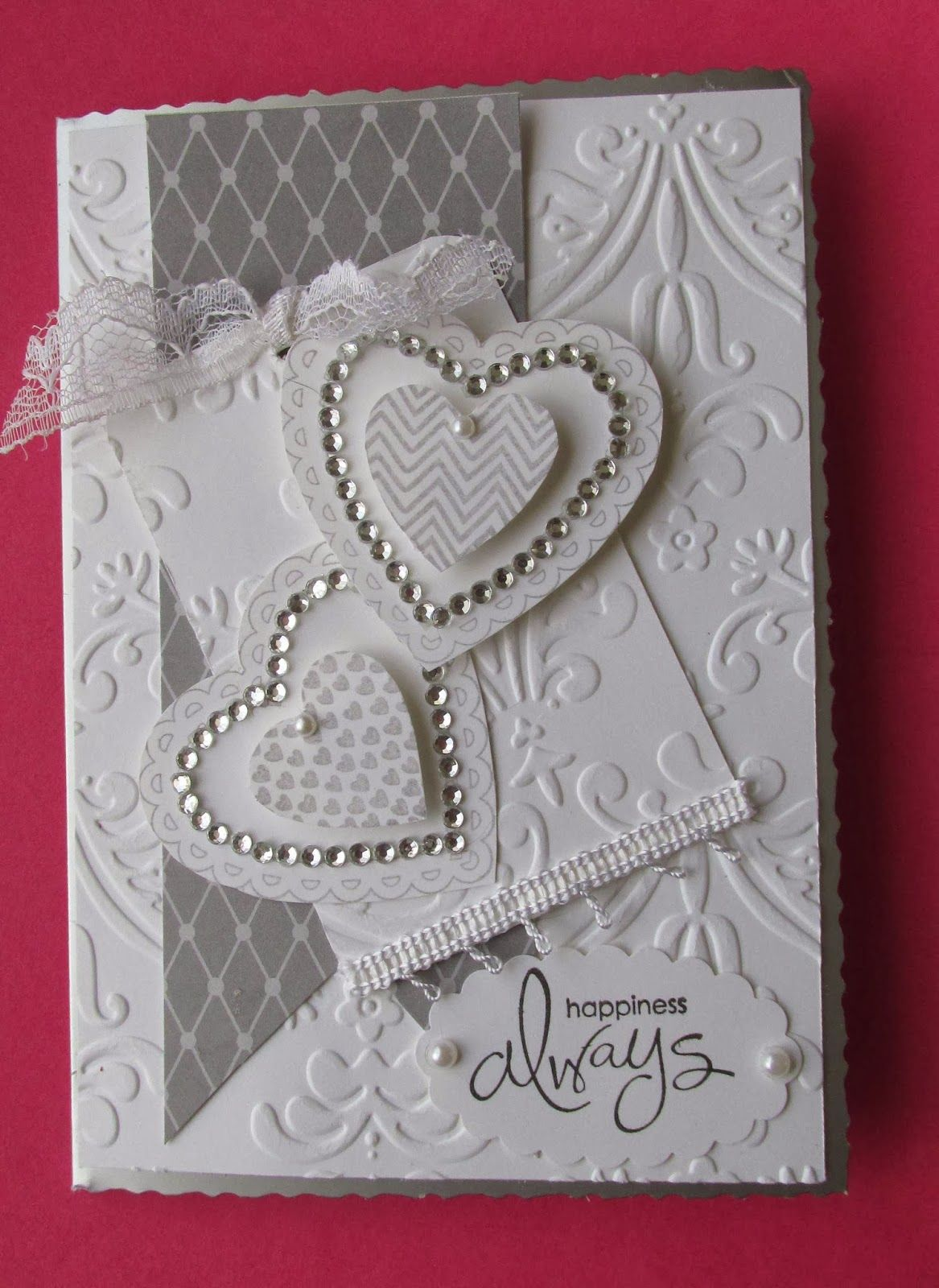Wedding card, hearts and embossing. Card Ideas