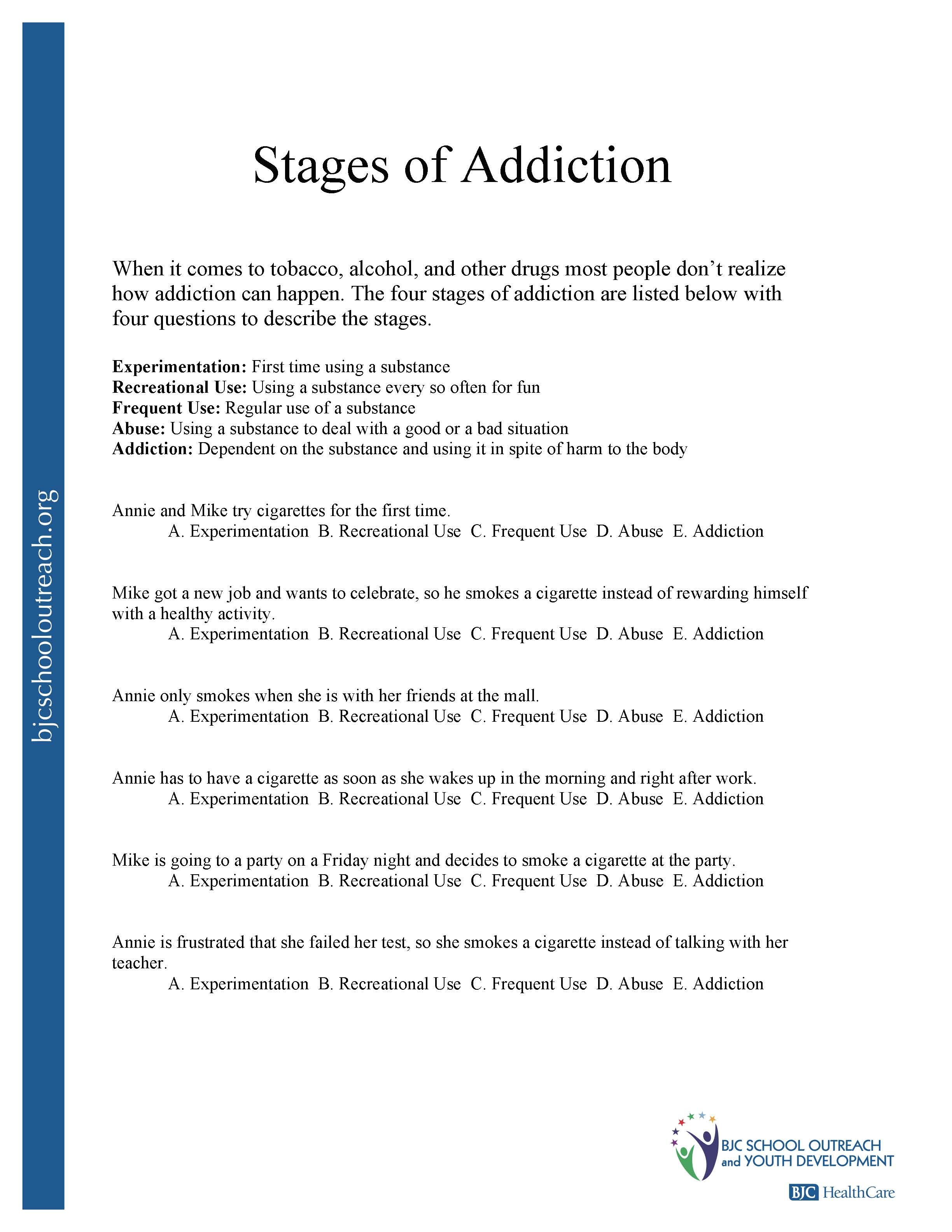 29 Stages Of Relapse Worksheet