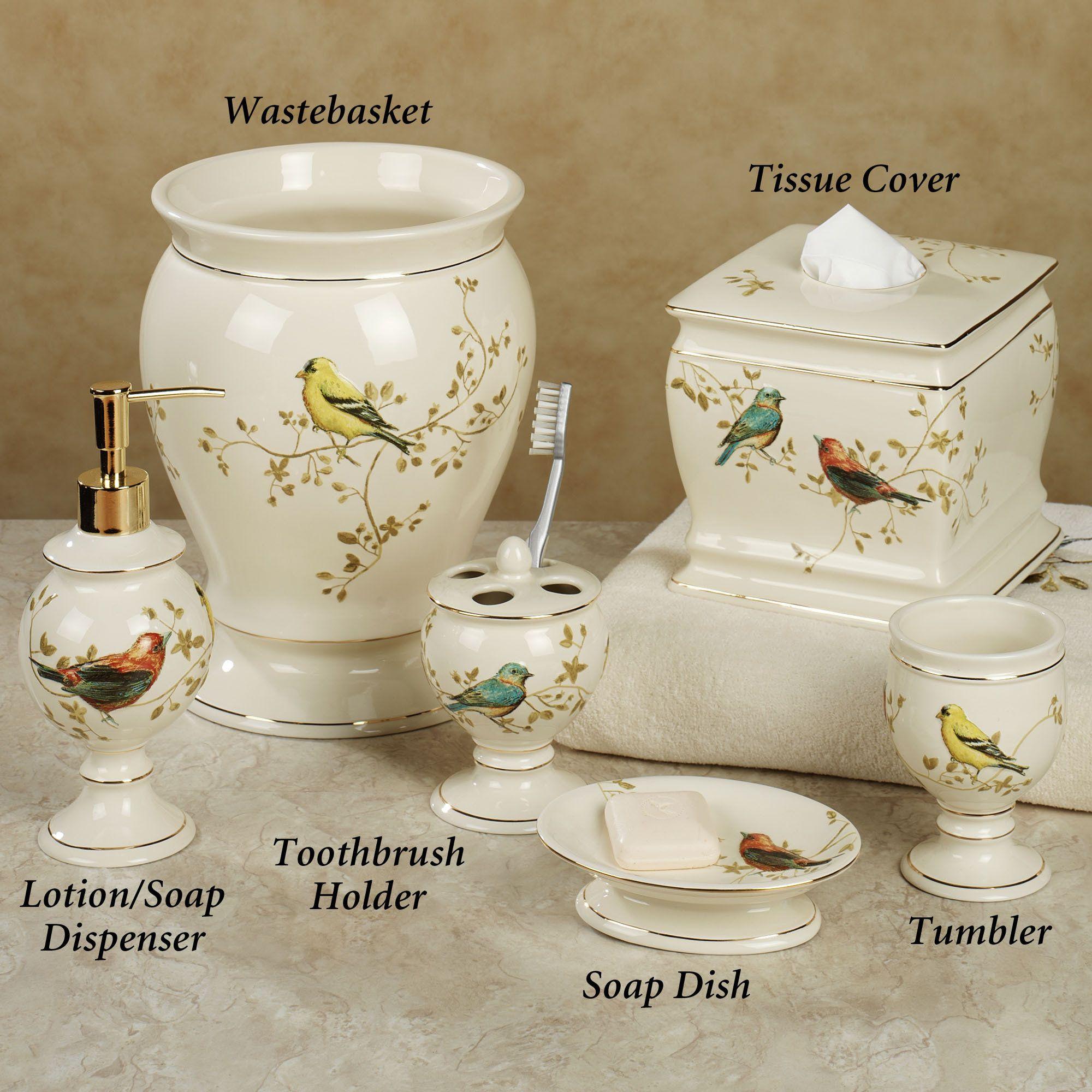 gilded bird ceramic bath accessories   bath accessories, bath and