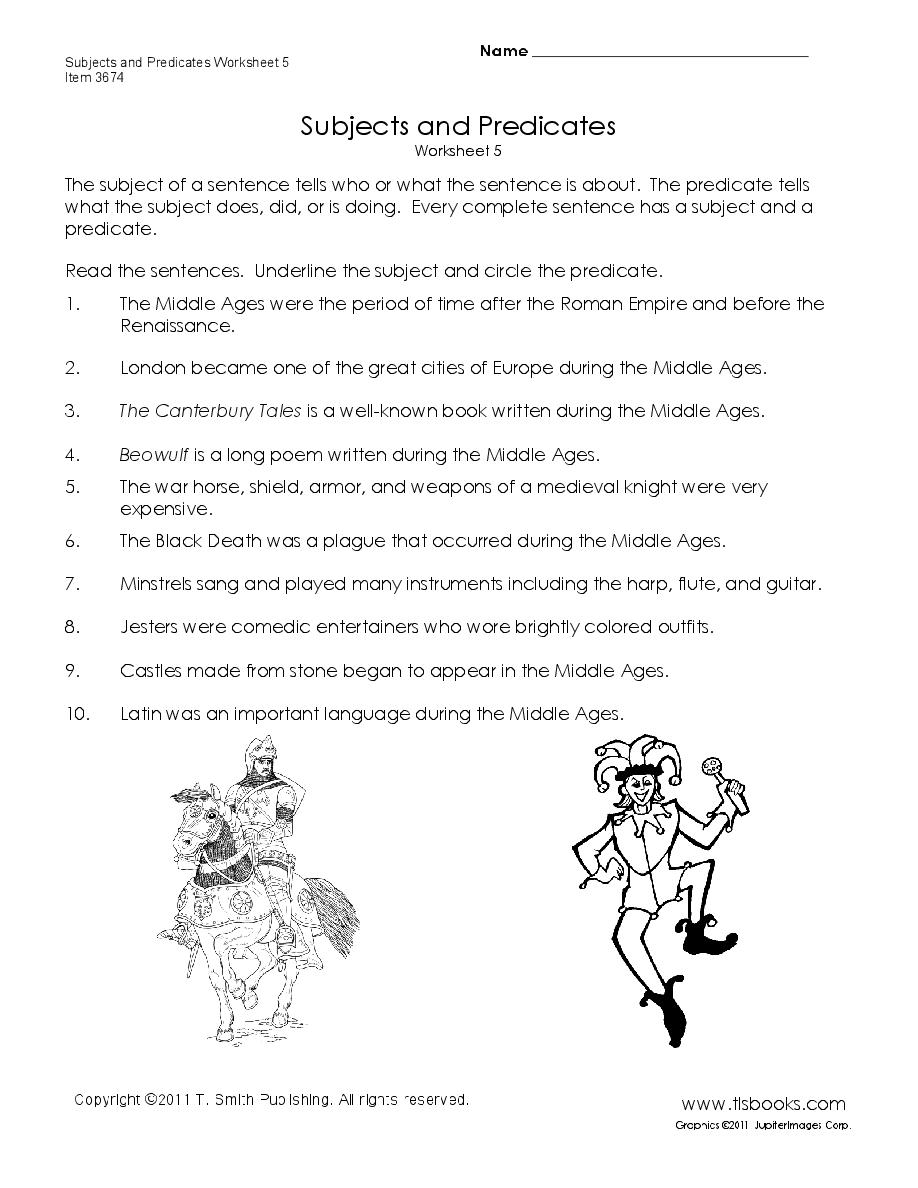 Subjects and Predicates Worksheet 5 Homeschool Grammar