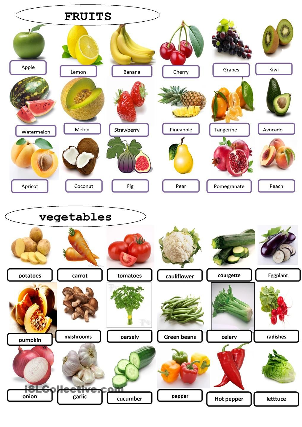 fruits and vegetables worksheet Free ESL printable
