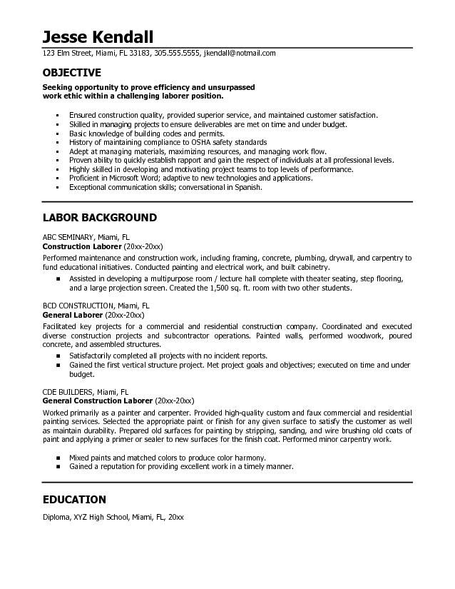 resumes for excavators construction resume pinterest sample resume construction worker