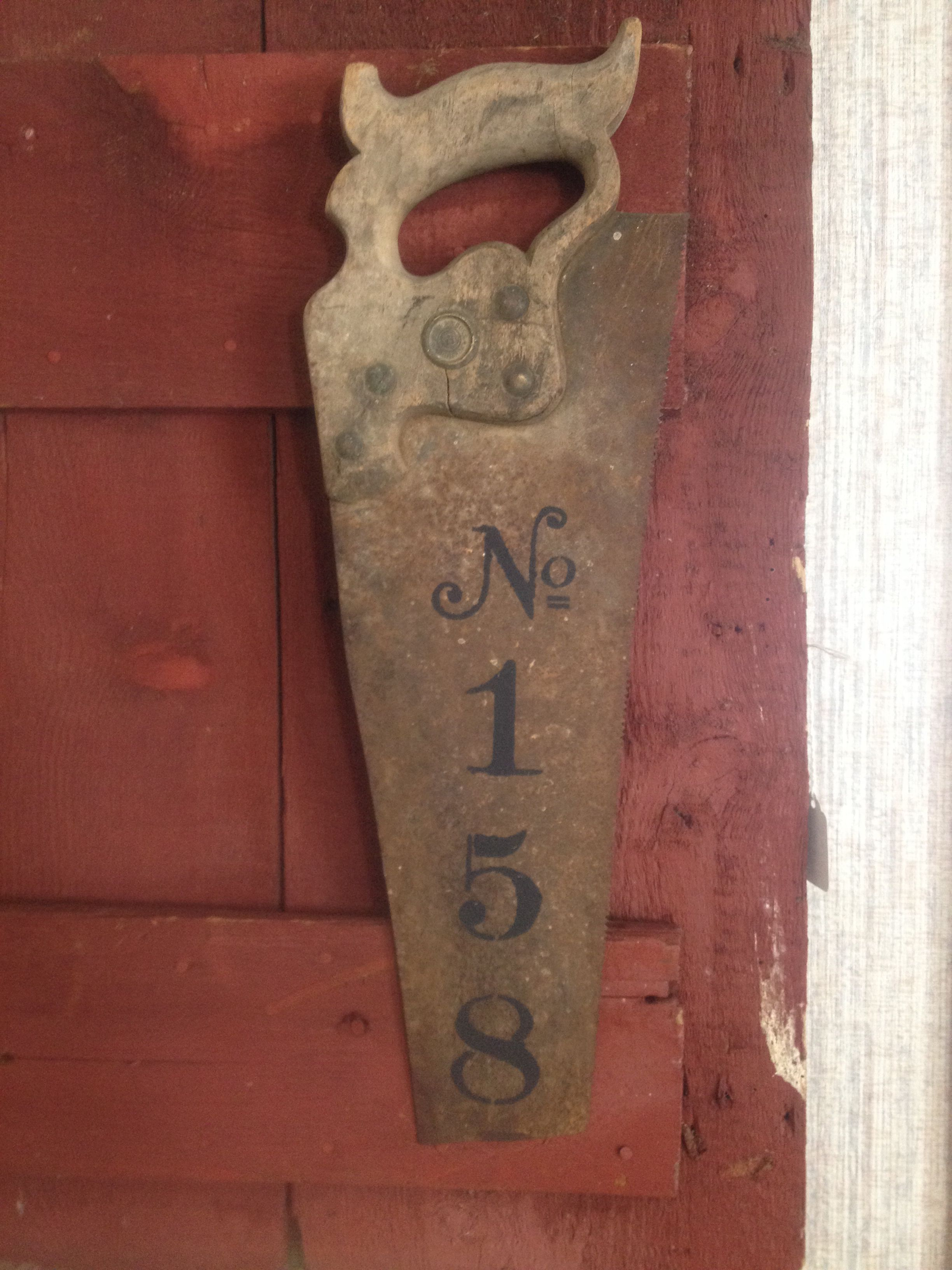 Repurposed saw with house numbers! a must to make