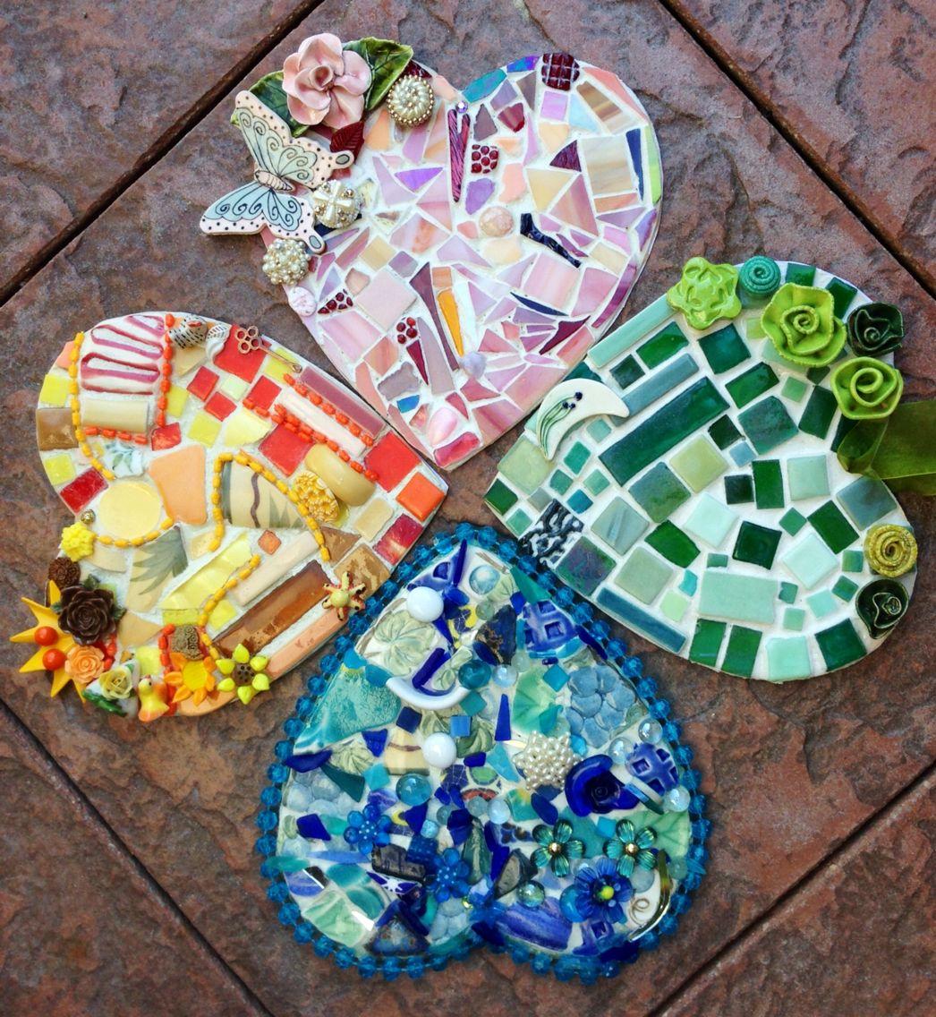 Four Leaf Clover Heart Mosaics The Backs Are Pretty Decopauges