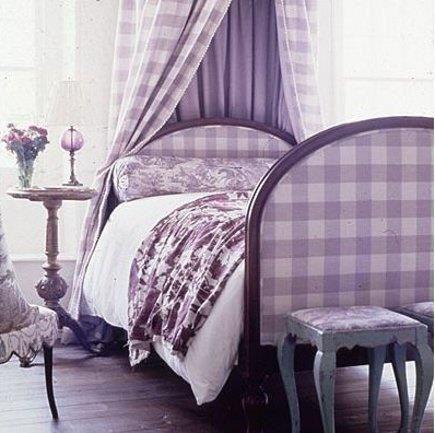 Purple White Gingham Bedroom