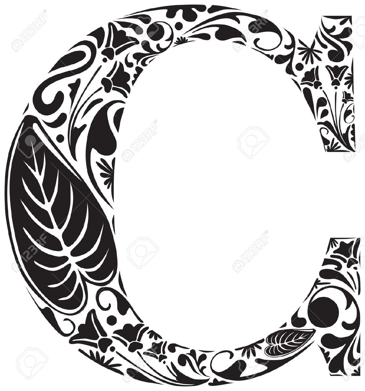 Floral Initial Capital Letter C Stock Vector