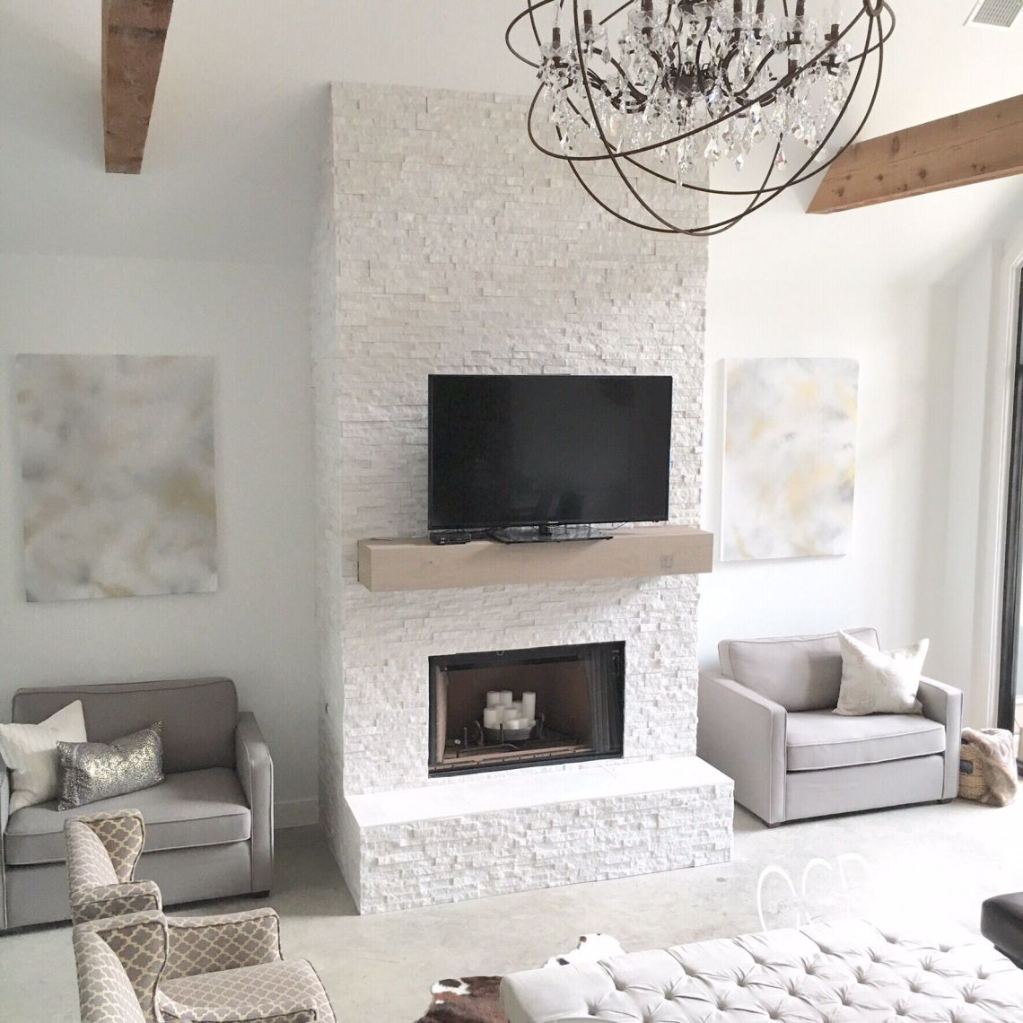 White grey gray neutral decor living room rustic glam ...