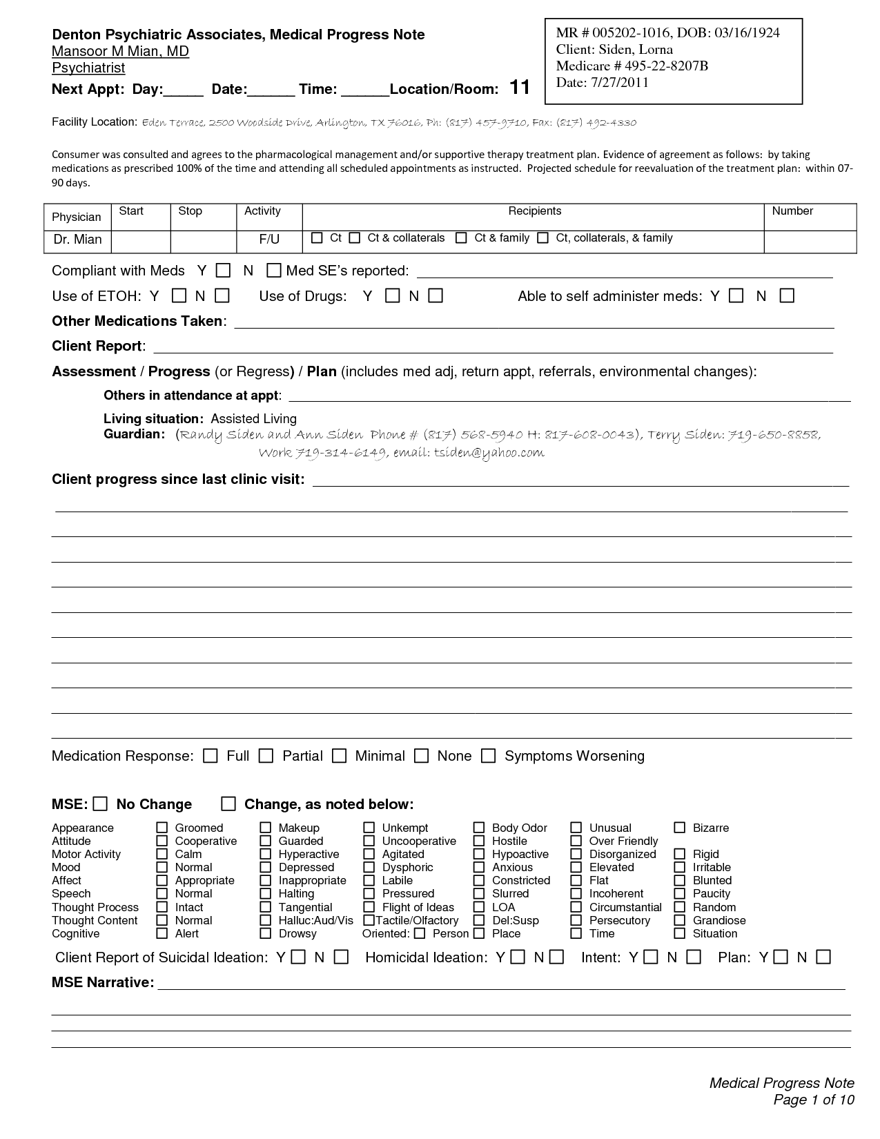 Psychiatric Progress Note Template