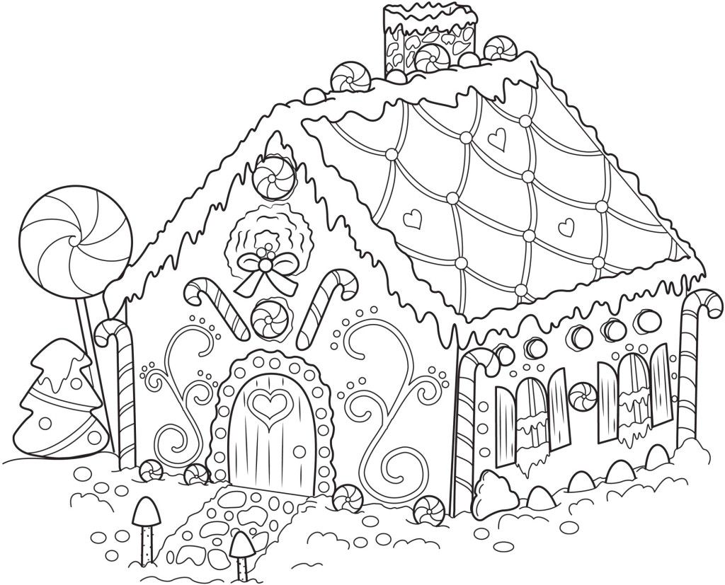 Gingerbread House Coloring Pages printable coloring pages