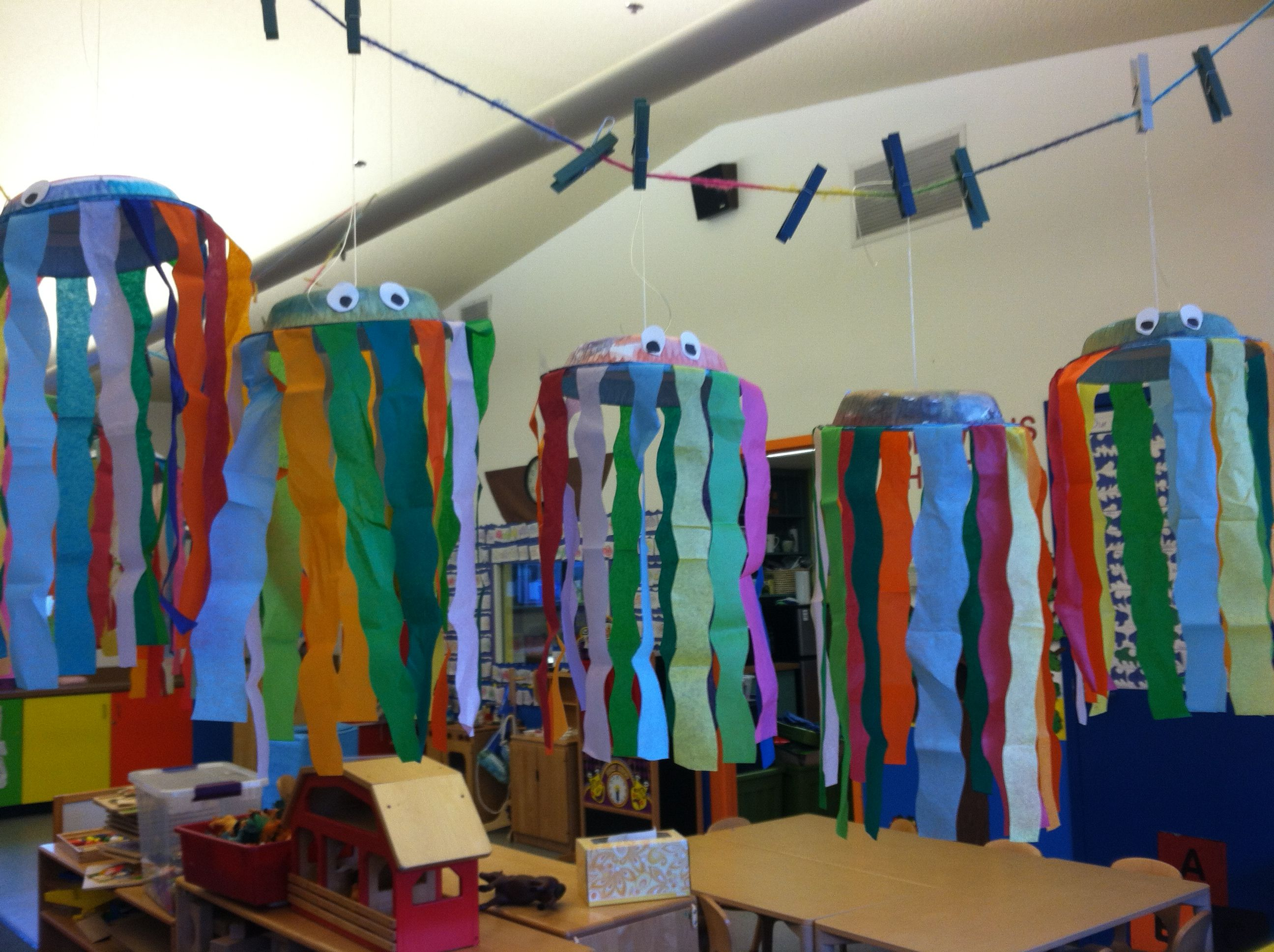 Preschool Ocean Themed Jelly Fish With Water Colors And Streamers