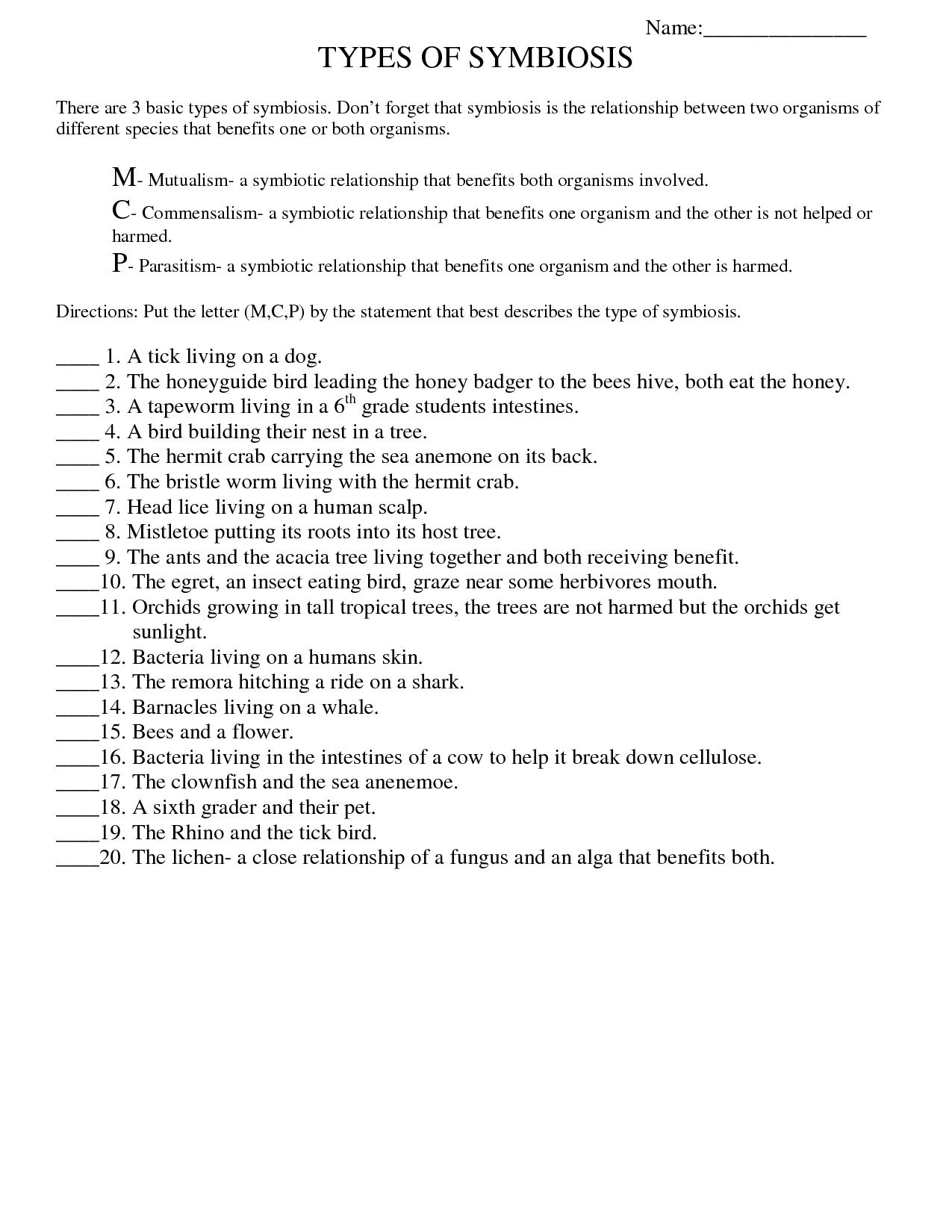 Worksheet On Fungi