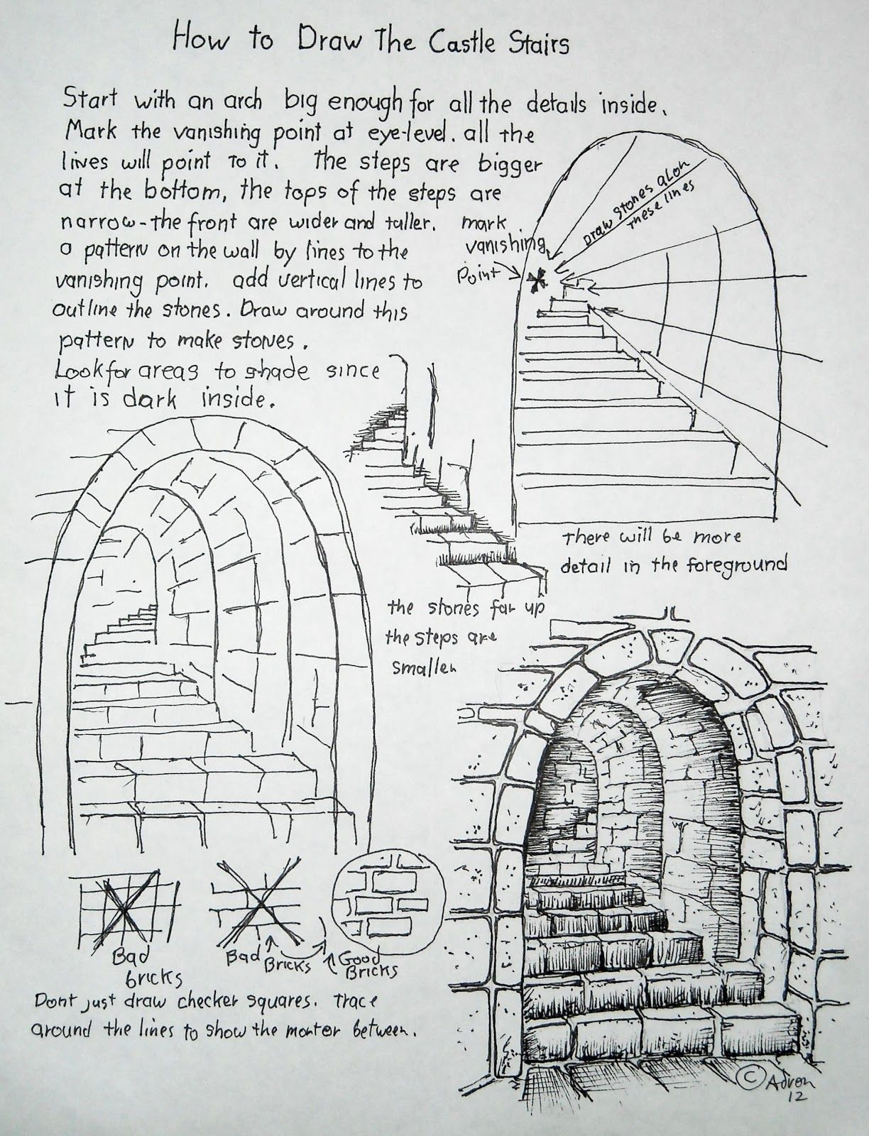 How To Draw Worksheets For The Young Artist Stone Stairs