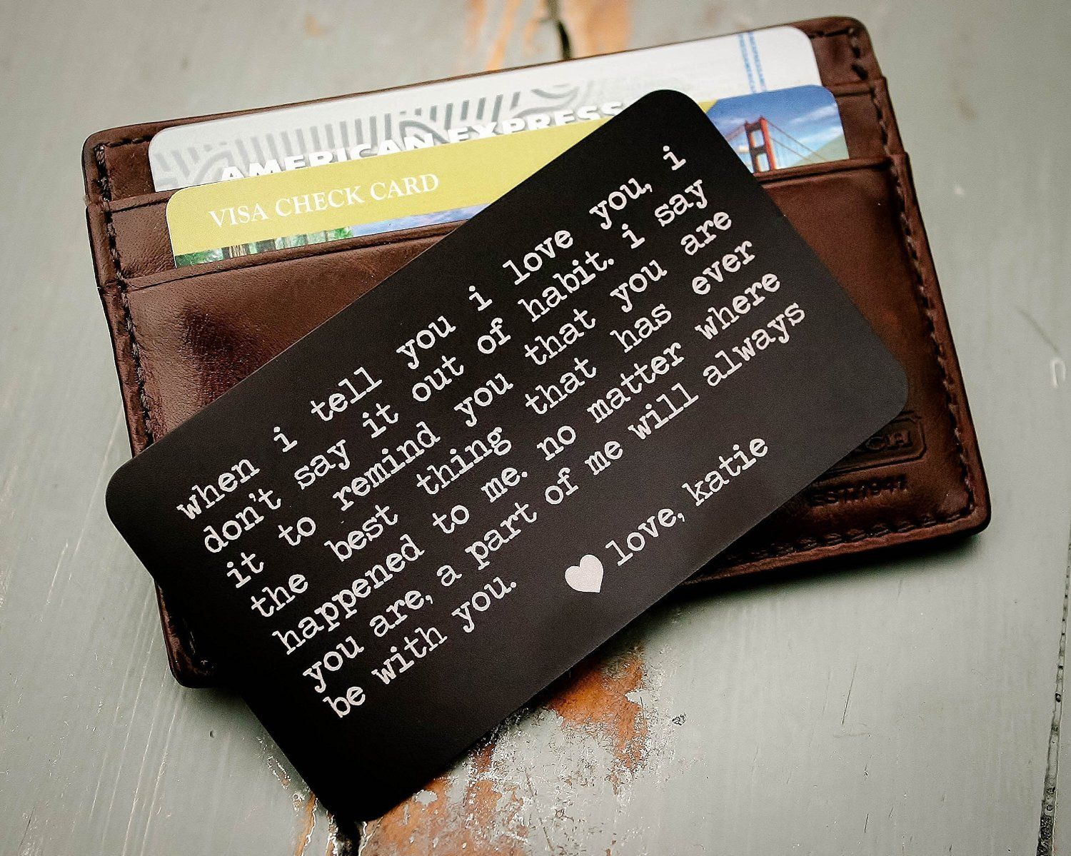 Custom Engraved Wallet Insert, Personalized Wallet Card