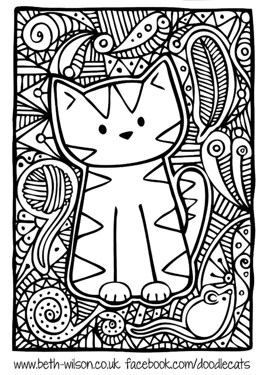 Free coloring page «coloringadultdifficultcutecat