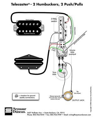 Tele Wiring Diagram, 2 humbuckers, 2 pushpulls