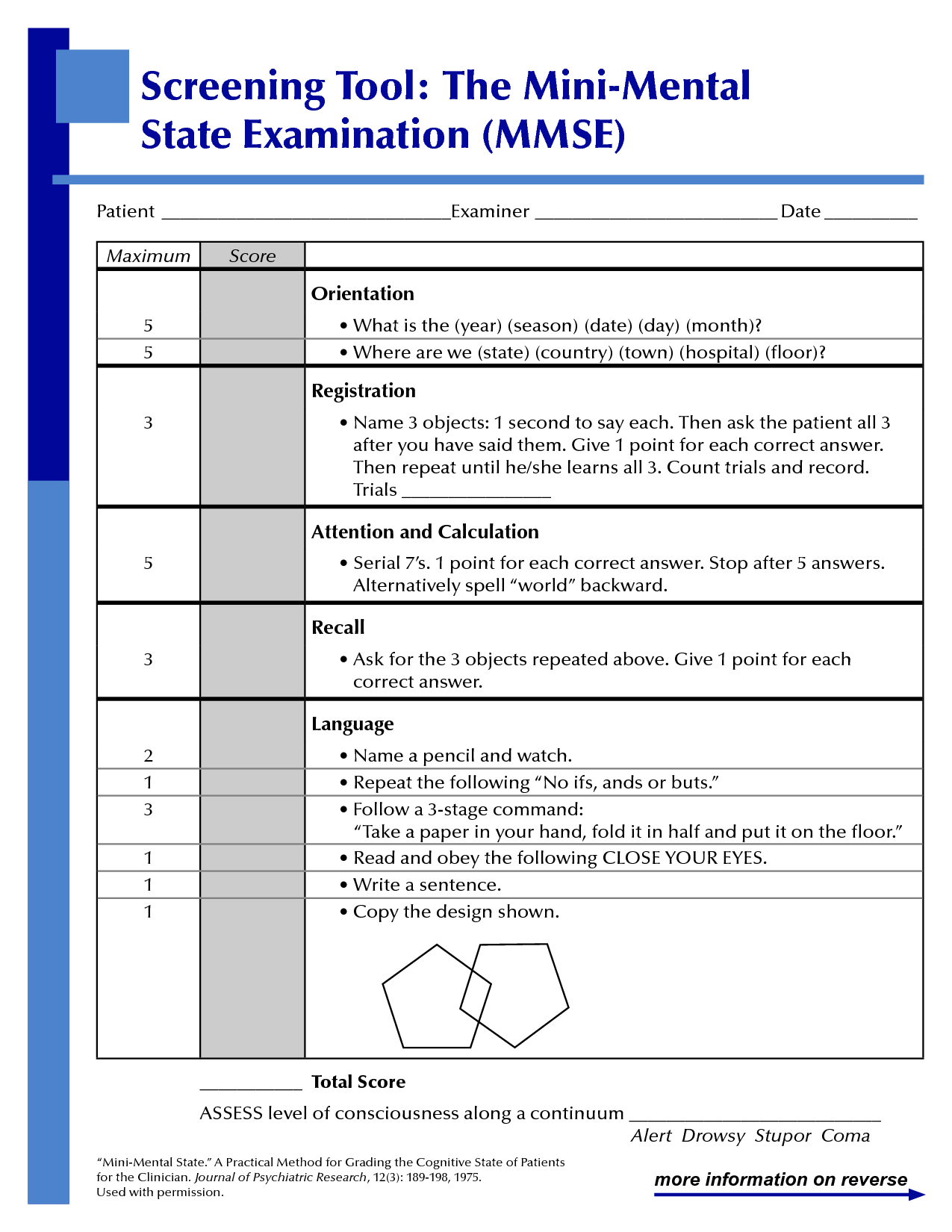 Mini Mental Status Exam work Pinterest On, As and Minis