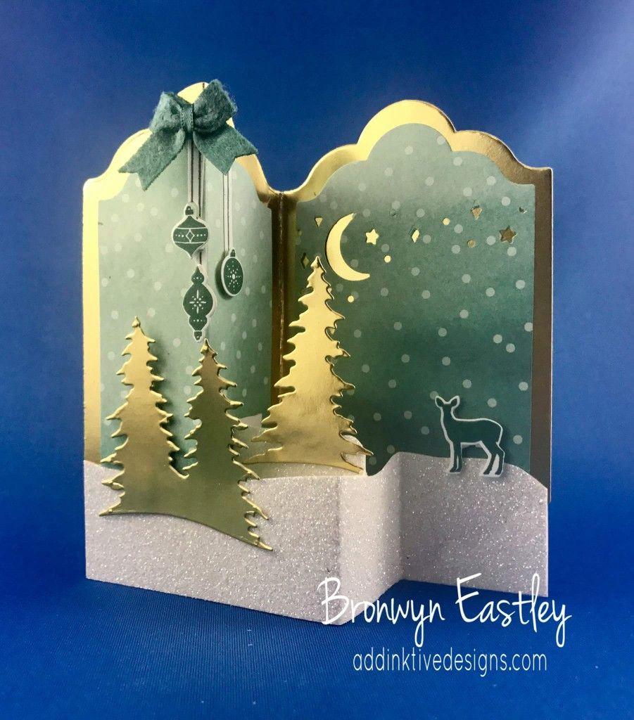 handmade Christmas card fun fold gold foil, white