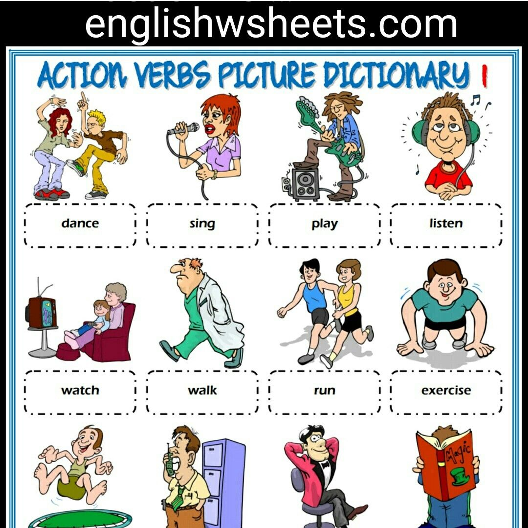 Action Verbs Esl Printable Picture Dictionary For Kids 5