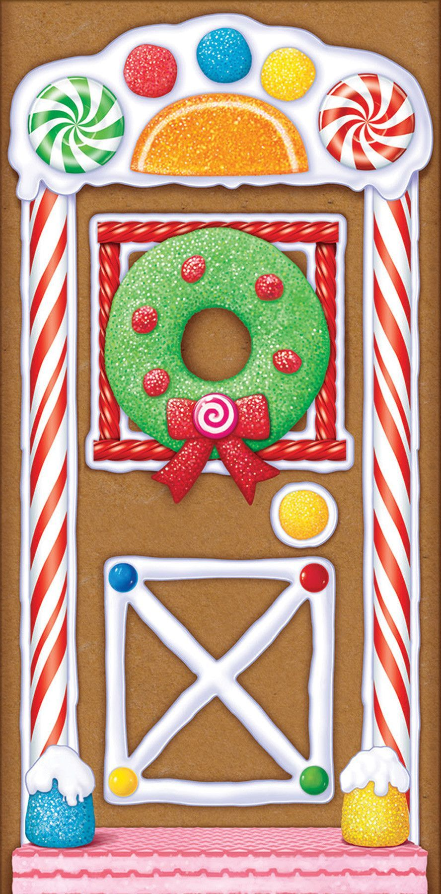 Colorful candy and frosting gingerbread image will be a