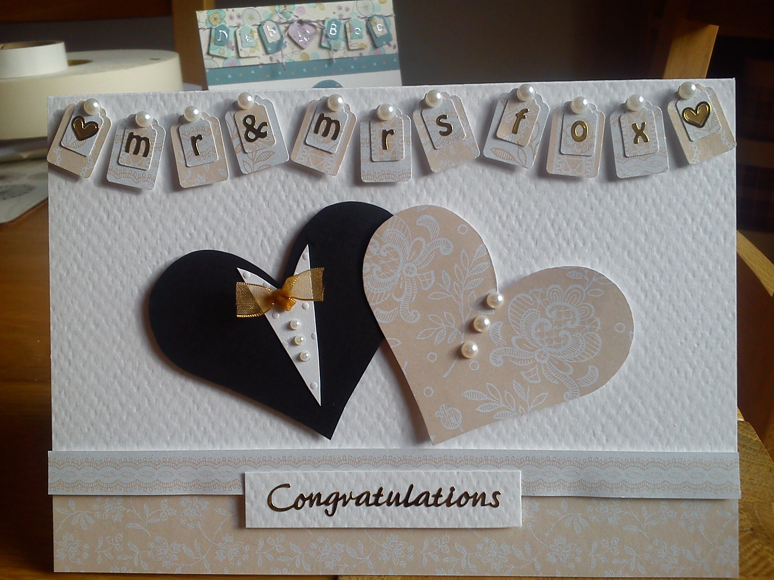 Personalised handmade wedding card I made for a friend