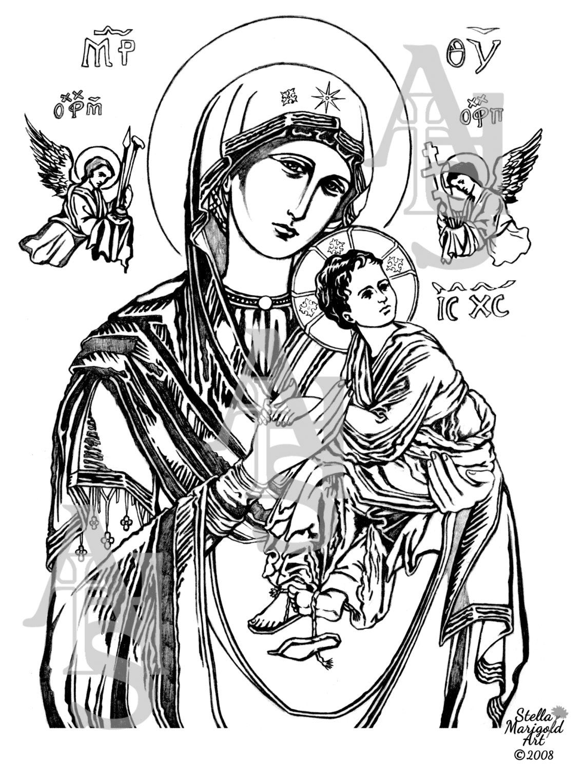 Our Lady of Perpetual Help Coloring Page Icons and
